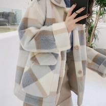 short coat Winter of 2019 S M L XL Grey blue Khaki Long sleeves routine routine singleton  easy commute routine Polo collar Single breasted lattice 18-24 years old Meeting with Xi 96% and above Pocket button QP4053 other Other 100% Pure e-commerce (online only)
