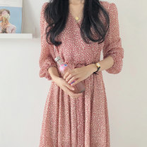 Women's large Autumn 2020 Floral skirt S M L XL XXL XXXL XXXXL Long sleeves LY-H1416 Meeting with Xi Triacetate fiber (triacetate fiber) 100%
