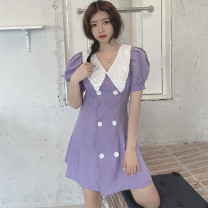 Women's large Summer 2021 violet S,M,L. singleton  commute moderate Short sleeve Solid color Retro other other Three dimensional cutting puff sleeve 18-24 years old Button 81% (inclusive) - 90% (inclusive) Short skirt