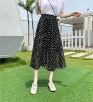 skirt Summer of 2019 One size fits all belt 4, 6, 10, 19, 20, 21, 22, 29 white, 29 black, 33, 37 black, 70, 72 green, 72 red, 72 blue, 80 big dot, big white flower, 11, 9, 17 longuette Versatile High waist Ruffle Skirt Dot Type A