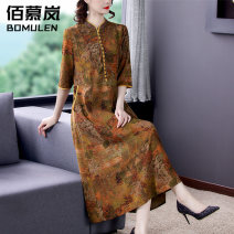 Women's large Summer 2021 Decor L XL 2XL 3XL 4XL 5XL Dress singleton  commute easy thin Socket elbow sleeve Decor Korean version stand collar Medium length Three dimensional cutting routine BNRJ1561 Bomulen 35-39 years old pocket Medium length Silk 80% others 20% Pure e-commerce (online only) other