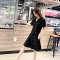 Dress Summer 2021 Autumn fragrance yellow black S M L XL Short skirt singleton  Short sleeve commute V-neck High waist Solid color Single breasted Irregular skirt routine Others 25-29 years old Type A Xian Shangwei Korean version Pleated button SW1140 More than 95% other Lyocell 100%