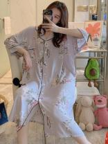 Nightdress Other / other Average size sexy Middle sleeve pajamas longuette summer Plants and flowers youth Shirt collar viscose  printing More than 95% Silk