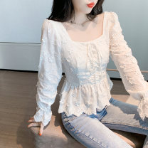 Lace / Chiffon Winter 2020 white S,M,L,XL,2XL Long sleeves commute Socket singleton  Self cultivation have cash less than that is registered in the accounts square neck Solid color Petal sleeve 18-24 years old MM Korean version 31% (inclusive) - 50% (inclusive)