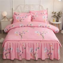 Bedding Set / four piece set / multi piece set cotton Quilting Plants and flowers 128x68 Other / other cotton 4 pieces 40 1.2 bed (quilt cover 150x200), 1.5 bed (quilt cover 180x220), 1.8 bed (quilt cover 200x230), 2.0 bed (quilt cover 200x230) Bed skirt First Grade European style 100% cotton Sanding