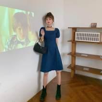 Square dance suit S,M,L,XL Denim blue female routine Short sleeve Solid color