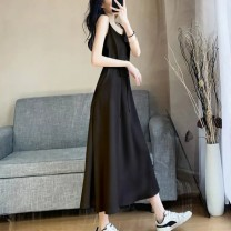 Dress Summer 2021 White, black S,M,L,XL Mid length dress Sleeveless Sweet High waist Solid color routine camisole 18-24 years old