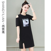 Dress Summer 2021 Bright red black yellow M L XL 2XL Mid length dress singleton  Short sleeve commute Crew neck High waist letter Socket A-line skirt routine Others 25-29 years old Type A Shang Yilian Korean version printing SSX-2169-XCZ 91% (inclusive) - 95% (inclusive) cotton