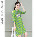 Dress Summer 2021 Red white stripe yellow black stripe red yellow stripe blue green stripe M L XL 2XL Mid length dress singleton  Short sleeve commute Crew neck High waist stripe Socket A-line skirt routine Others 25-29 years old Type A Shang Yilian Korean version SSX-2170-XCZ More than 95% cotton