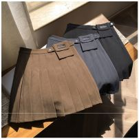 skirt Autumn 2020 S,M,L,XL,2XL Grey, black, khaki Short skirt commute High waist Pleated skirt Solid color Type A 25-29 years old 31% (inclusive) - 50% (inclusive) other Other / other Three dimensional decoration, buttons, zippers, printing Korean version
