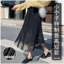 skirt Winter 2020 XS,S,M,L Black [68cm], black [74cm], black [77cm], apricot [68cm], apricot [72cm], apricot [77cm], gray blue [68cm], gray blue [72cm], gray blue [77cm], fruit green [68cm], fruit green [72cm], fruit green [77cm] longuette commute High waist Pleated skirt Solid color Type A Gauze
