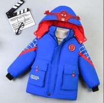 Cotton padded jacket neutral Detachable cap Cotton 96% and above Other / other (Spiderman cotton padded clothes) red, (Spiderman cotton padded clothes) black, (Spiderman cotton padded clothes) blue thickening Single breasted leisure time There are models in the real shooting Cartoon animation other