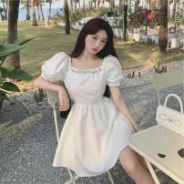 Women's large Summer 2021 White, black S,M,L singleton  commute Self cultivation Short sleeve Retro square neck 18-24 years old Short skirt