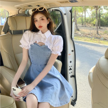 Women's large Summer 2021 White shawl, denim sling S,M,L Two piece set commute Self cultivation Short sleeve Retro Polo collar 18-24 years old Short skirt