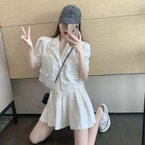 Women's large Summer 2021 White coat, white skirt S,M,L Two piece set commute Self cultivation Short sleeve Retro have cash less than that is registered in the accounts 18-24 years old Short skirt