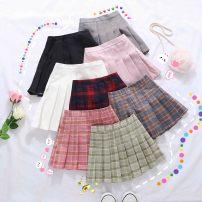 skirt Other / other female Polyester 80% cotton 17% polyurethane elastic fiber (spandex) 3% No season skirt Korean version lattice Pleats cotton 1958 avocado Plaid pleated skirt Class B