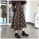 skirt Winter 2020 S,M,L,XL,2XL,3XL,4XL longuette Versatile High waist A-line skirt lattice Type A Wool zipper