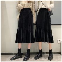skirt Autumn 2020 Xs, s, one size fits all Black, flash black Mid length dress commute High waist skirt Solid color Type A 18-24 years old More than 95% Other / other other Korean version