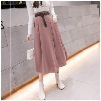 skirt Autumn 2020 S,M,L,XL Green, black, khaki, pink longuette commute High waist Irregular Solid color Type A 25-29 years old T-1581 More than 95% Other / other other pocket Korean version