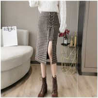 skirt Winter 2020 S,M,L,XL,2XL,3XL,4XL Black, khaki Mid length dress commute High waist A-line skirt lattice Type A 25-29 years old xie786 Wool Other / other Korean version