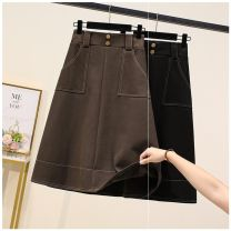 skirt Winter 2020 L,XL,2XL,3XL,4XL,5XL Black, camel, breasted black, breasted khaki longuette commute High waist A-line skirt Solid color Type A 25-29 years old pocket