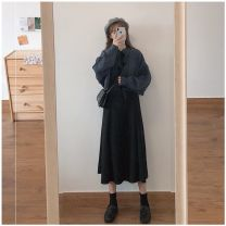 Women's large Winter 2020 Dark coat + black dress S,M,L,XL Dress Two piece set commute Cardigan Long sleeves Solid color Korean version Crew neck routine other routine Other 18-24 years old Medium length other