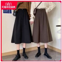 skirt Winter 2020 XS,S,M,L,XL,2XL,3XL Black, brown Mid length dress Versatile High waist A-line skirt Solid color Type A 18-24 years old 91% (inclusive) - 95% (inclusive) Other / other polyester fiber