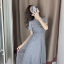 Women's large Summer 2021 S M L XL Dress singleton  commute Self cultivation moderate Socket Short sleeve Solid color Korean version Crew neck Medium length other routine Newsday 18-24 years old Medium length Other 100% Pure e-commerce (online only) Pleated skirt