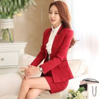 Professional dress suit S. M, l, XL, XXL, XXXL, 4XL (large size needs to be customized in advance) Autumn 2020 Long sleeves 8363+208 shirt A-line skirt 25-35 years old Other / other 96% and above polyester fiber