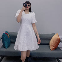 Dress Spring 2021 Black, white M, L longuette singleton  Long sleeves commute Half high collar letter Three buttons A-line skirt routine Type H Button, print, stitching knitting cotton