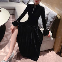 Dress Spring 2021 black S,M,L Mid length dress singleton  Long sleeves commute Half high collar High waist Solid color Socket Big swing routine Type A Sandro asw Ol style Gouhua hollow 91% (inclusive) - 95% (inclusive)
