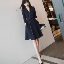 Dress Summer 2021 Navy Blue S,M,L,XL Mid length dress singleton  Long sleeves commute V-neck High waist Solid color Socket A-line skirt routine Type A Sandro asw