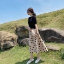 Dress Summer 2021 S,M,L,XL longuette Two piece set elbow sleeve commute Crew neck High waist Dot Socket A-line skirt routine Others Type A Sandro asw Korean version Gouhua hollow, three-dimensional decoration 91% (inclusive) - 95% (inclusive)