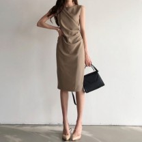 Dress Summer 2021 Brown, black S,M,L Mid length dress singleton  Sleeveless commute Crew neck High waist Solid color zipper One pace skirt routine Type H Sandro asw zipper 91% (inclusive) - 95% (inclusive) other other