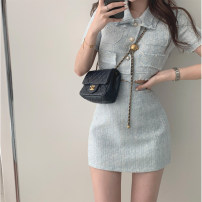 Dress Summer 2021 Gray blue S,M,L Short skirt Two piece set Short sleeve commute other routine Sandro asw 91% (inclusive) - 95% (inclusive) cotton