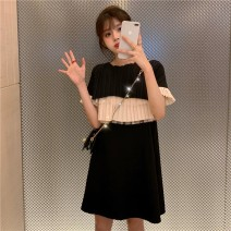 Dress Summer 2021 black S,M,L,XL Middle-skirt singleton  Short sleeve commute Crew neck Loose waist Princess Dress Type H Sandro asw Three dimensional decoration 91% (inclusive) - 95% (inclusive)