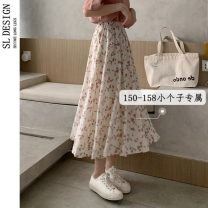 skirt Summer 2021 S M L XS Apricot Pink Mid length dress commute High waist A-line skirt Broken flowers Type A 18-24 years old More than 95% Shuli other Korean version Other 100% Pure e-commerce (online only)