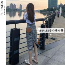 skirt Summer 2021 S M L XS Plaid skirt Mid length dress Versatile Natural waist A-line skirt lattice Type A 18-24 years old More than 95% Shuli other Other 100% Pure e-commerce (online only)