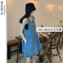Dress Summer 2021 blue S M L XS Miniskirt Sweet V-neck straps 18-24 years old Shuli More than 95% other Other 100% college