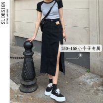 skirt Summer 2021 S M L XS Black light blue Mid length dress commute High waist Denim skirt Solid color Type A 18-24 years old 8027# More than 95% Shuli other Korean version Other 100% Pure e-commerce (online only)