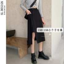 skirt Summer 2021 S M L XS black Mid length dress Versatile Natural waist Irregular Solid color Type A 18-24 years old 9396[ More than 95% Shuli other Other 100% Pure e-commerce (online only)