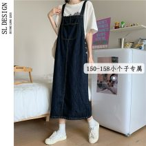 Dress Summer 2021 blue S M L XS Mid length dress singleton  Sleeveless commute square neck High waist Solid color Socket A-line skirt other straps 18-24 years old Type H Shuli literature tie-dyed More than 95% other other Other 100%