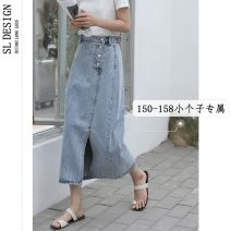 skirt Summer 2021 XS S M L blue longuette commute High waist A-line skirt Solid color Type A 18-24 years old 5264[ More than 95% Denim Shuli cotton Button Korean version Cotton 100% Pure e-commerce (online only)