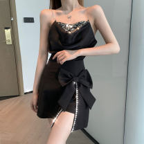 skirt Summer 2021 S M L Short skirt commute High waist A-line skirt Solid color Type A 18-24 years old More than 95% XinPan other zipper Other 100%