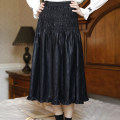 skirt Autumn 2020 S,M,L black Mid length dress commute High waist A-line skirt Solid color Type A 25-29 years old More than 95% other EVENOLDER PU court