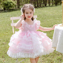 Dress Pink female Ziivaxxy / shoot 80cm 90cm 100cm 110cm 120cm 130cm Polyester 100% summer princess Skirt / vest Solid color organza  Cake skirt ZY8069 Class A Summer 2021 12 months, 6 months, 9 months, 18 months, 2 years, 3 years, 4 years, 5 years, 6 years Chinese Mainland