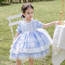 Dress blue female Ziivaxxy / shoot 80cm 90cm 100cm 110cm 120cm 130cm Cotton 100% summer princess Short sleeve Solid color cotton A-line skirt ZY8062 Class A Summer 2021 12 months, 6 months, 9 months, 18 months, 2 years, 3 years, 4 years, 5 years, 6 years Chinese Mainland