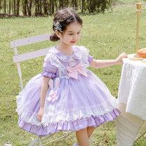 Dress lilac colour female Ziivaxxy / shoot 80cm 90cm 100cm 110cm 120cm 130cm Cotton 100% summer princess Short sleeve Solid color cotton A-line skirt ZY8061 Class A Summer 2021 12 months, 6 months, 9 months, 18 months, 2 years, 3 years, 4 years, 5 years, 6 years