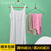 Nightdress Claude Vanilla white [636550 ecological mercerized cotton] quiet green [636550 ecological mercerized cotton] pink purple [636550 ecological mercerized cotton] 160(M) 165(L) 170(XL) sexy camisole Leisure home Middle-skirt summer Solid color youth Crew neck cotton More than 95% Summer 2021