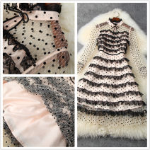 Dress Spring 2021 S,M,L,XL Middle-skirt singleton  Long sleeves Sweet stand collar High waist Dot Socket Cake skirt pagoda sleeve Others 30-34 years old Type A Splicing 81% (inclusive) - 90% (inclusive) Lace polyester fiber princess